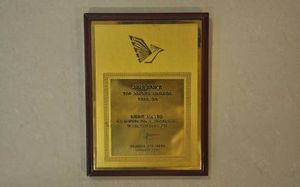 Srilankan Airways Top agent award 1998 - 1999
